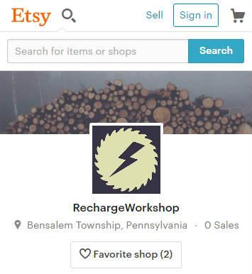 screenshot of the Recharge Workshop Etsy shop