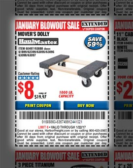 coupon for mover's dolly at Harbor Freight