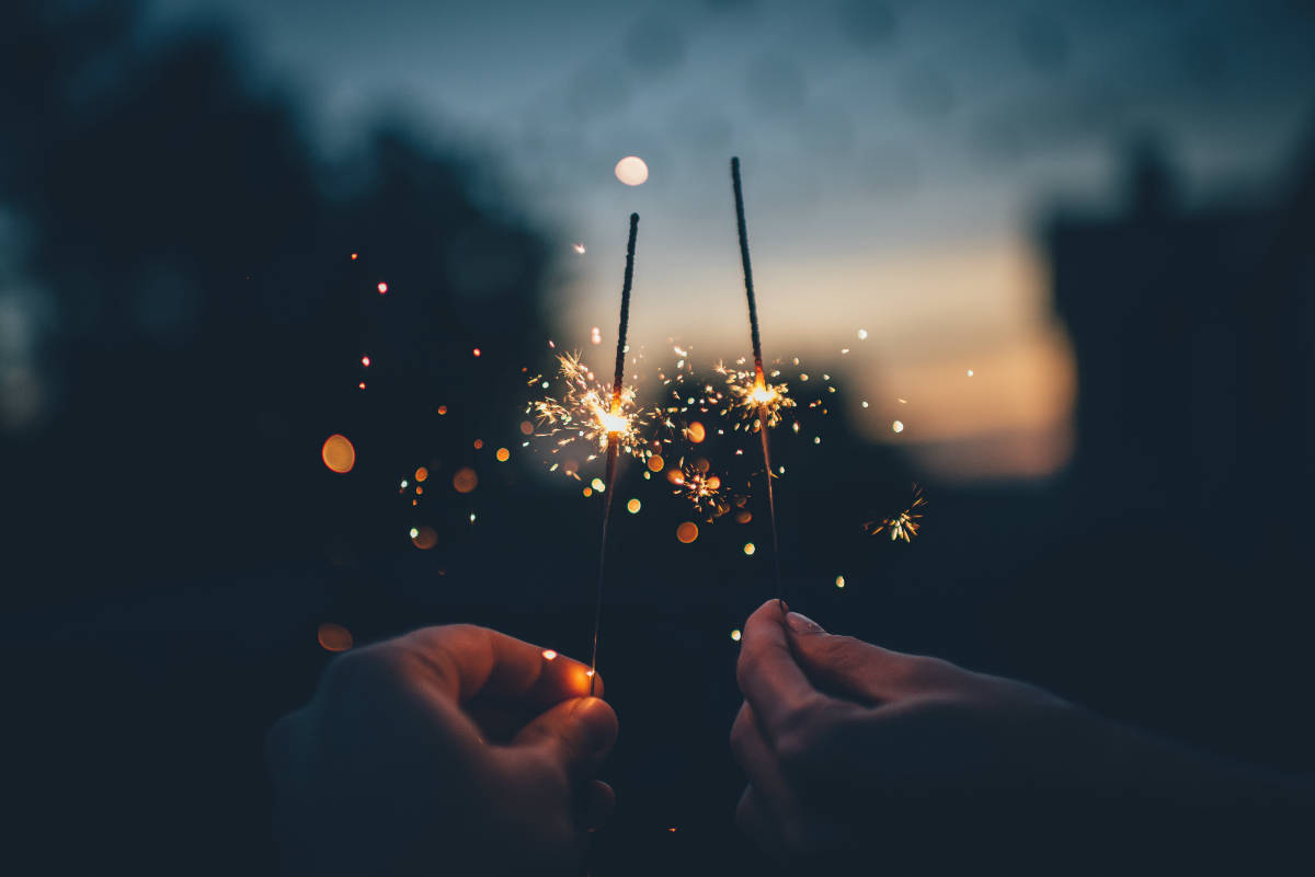 celebrating the holiday with sparklers