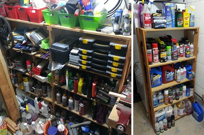 clean workshop shelves