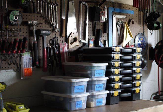 clean workshop workbench and peg board