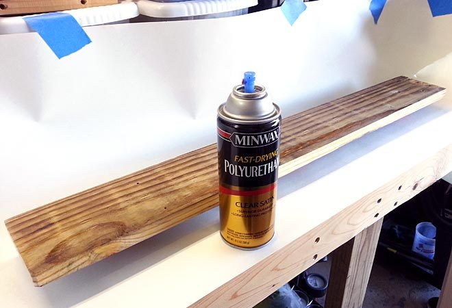 finishing pallet wood shelf with polyurethane