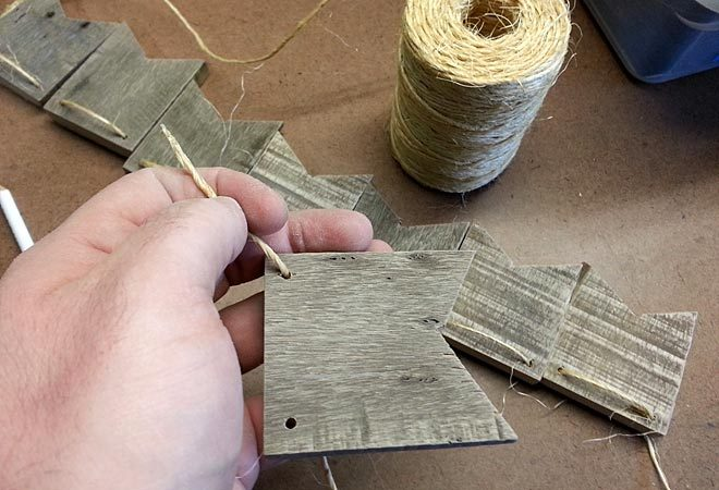stringing pallet wood bunting flags