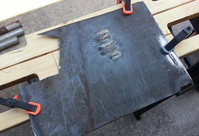 clamping down steel sheet