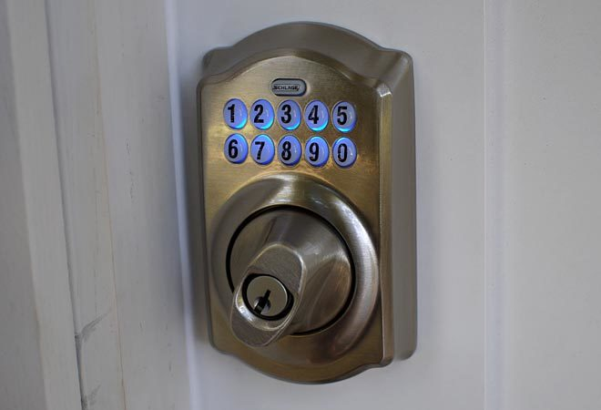 Schlage electronic deadbolt installed