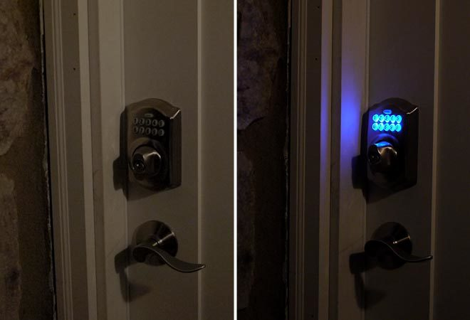 Schlage electronic deadbolt lit up at night
