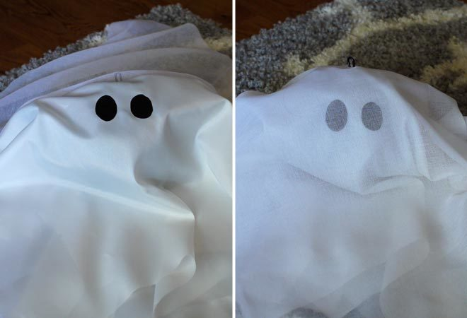 attach eyes to the fabric ghosts