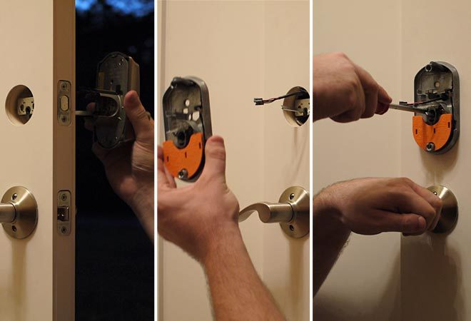 inserting front and back deadbolt components and securing in the door