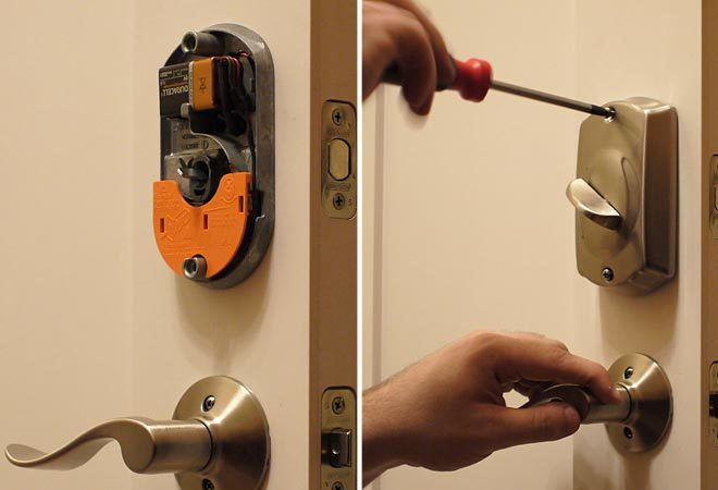 installing the battery and back plate of the electronic deadbolt