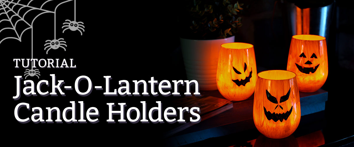Jack-O-Lantern candle holder tutorial