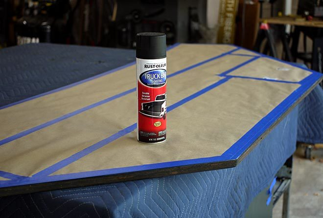 Rustoleum truck bed coating used as an edge banding
