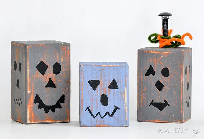 wood pumpkin blocks